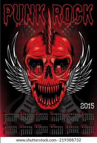 poster with a red skull and calendar for punk rock - stock vector