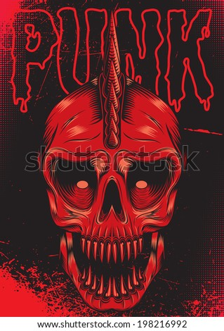 poster with a red skull for punk rock - stock vector