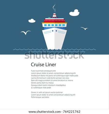 Poster Cruise Ship Liner Sea Text Stock Vector - Can you text from a cruise ship