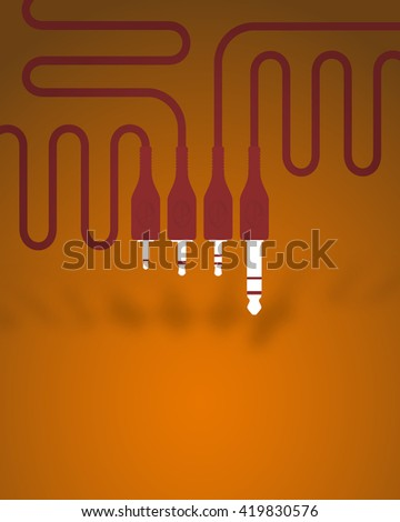 Poster with four types of audio connectors and cables in red in the conceptual design. On an orange background - stock vector