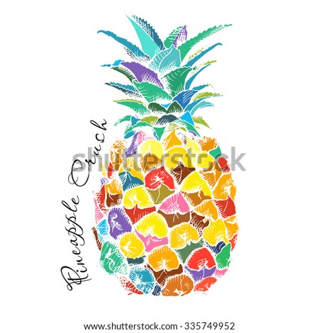 Poster with Image of pineapple fruit. Vector illustration.