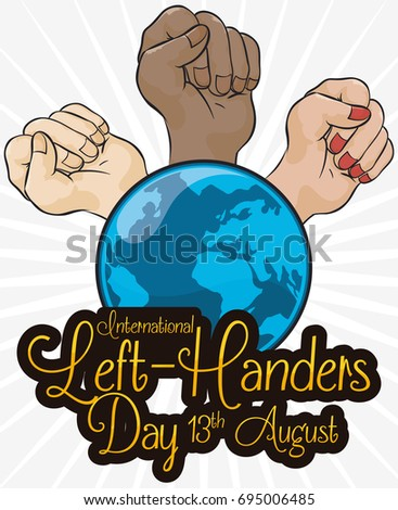 Poster multiracial fists elevated around globe stock vector 2018 poster with multiracial fists elevated around a globe and a greeting sign commemorating international left m4hsunfo