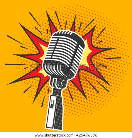 Poster with old microphone in pop art style. Design element in vector. - stock vector