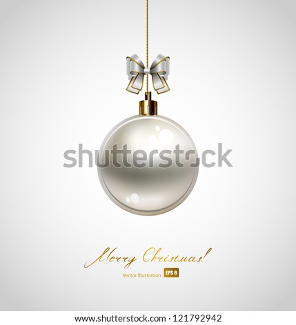 Poster with one silver evening ball. EPS 8 - stock vector