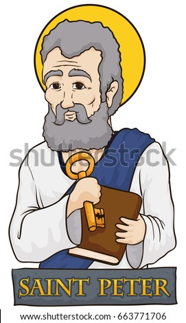 Poster with portrait of Saint Peter holding a key and a holy book behind a stone sign with his name.
