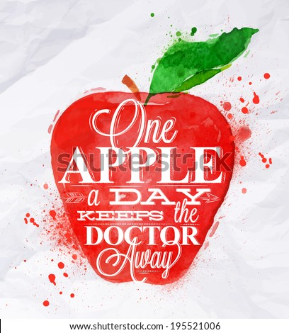 Poster with red watercolor apple lettering one apple a day keeps the doctor away - stock vector