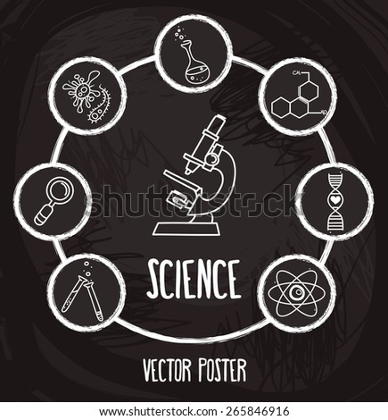 poster with science icons in hand drawn cartoon style, vector illustration - stock vector