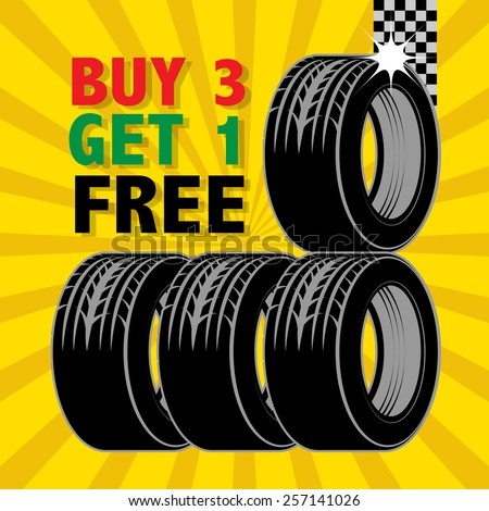 Poster with tires and the text Buy 3 Get 1 Free written inside, vector illustration - stock vector