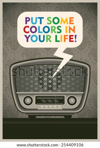Poster with vintage radio. Vector illustration. - stock vector