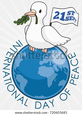 poster with white dove holding a olive branch in its beak and holding a reminder pennant