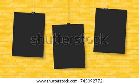 Posters On Binder Clips Paper Templates Brick Wall Realistic Mock Up Empty