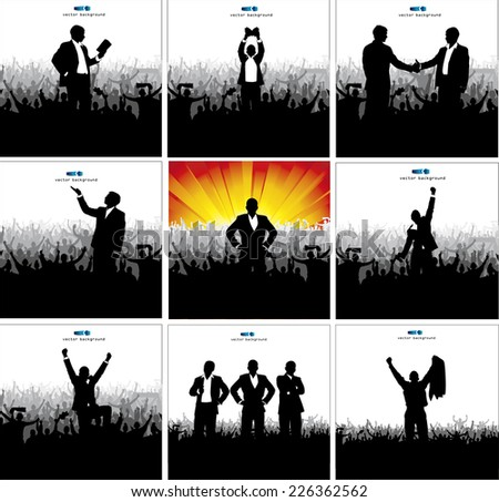 Posters with successful businessmen and politicians - stock vector