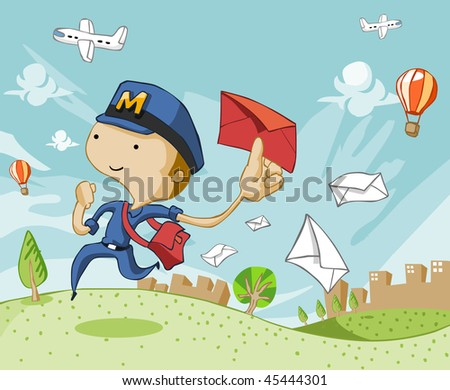Postman delivering love letter mail. Top and bottom are expandable for text. - stock vector