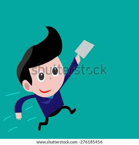 Postman delivery mail. Friendly postman in blue uniform with letters - stock vector