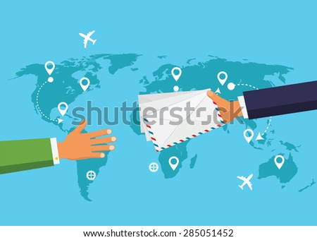 Postman Hand Give Envelope Flat Vector Illustration.  Post Service concept. - stock vector