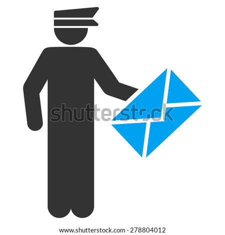 Postman icon from Business Bi color Set. This isolated flat symbol uses modern corporation light blue and gray colors. - stock vector