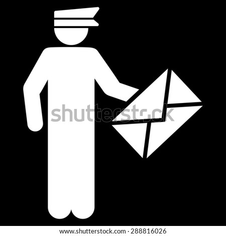 Postman icon from Business Bicolor Set. This flat vector symbol uses white color, rounded angles, and isolated on a black background. - stock vector