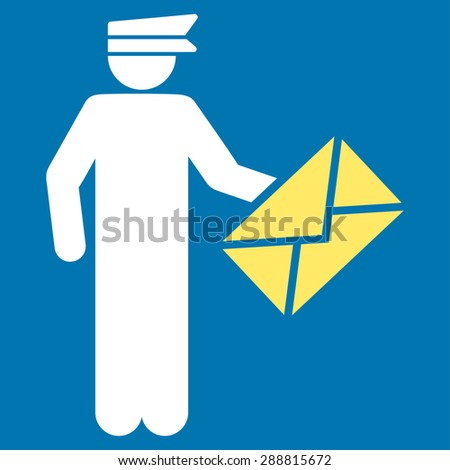 Postman icon from Business Bicolor Set. This flat vector symbol uses yellow and white colors, rounded angles, and isolated on a blue background. - stock vector