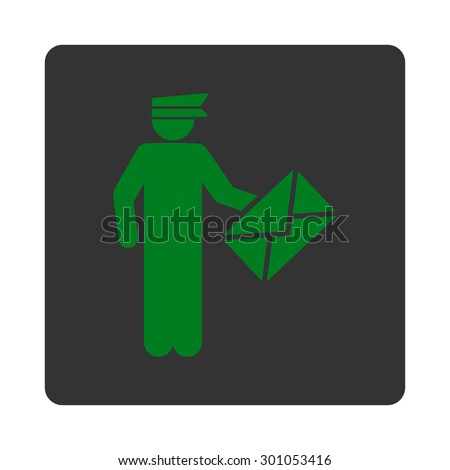 Postman icon. This flat rounded square button uses green and gray colors and isolated on a white background. - stock vector