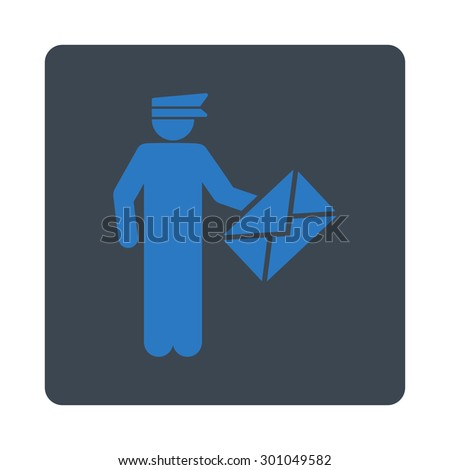 Postman icon. This flat rounded square button uses smooth blue colors and isolated on a white background. - stock vector