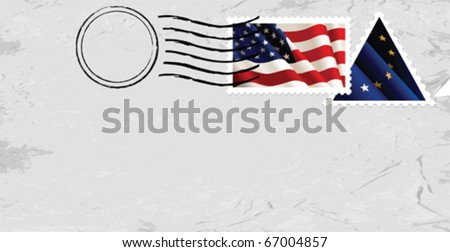 Postmark & Stamp with US flag.  All elements and textures are individual objects. Vector illustration scale to any size. - stock vector