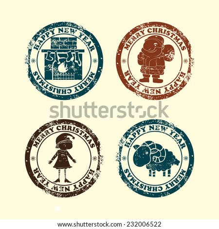 Postmarks  for New Year and Christmas. Set contains postmarks with   images of  fireplace,Santa,elf and lamb  on vintage background. - stock vector