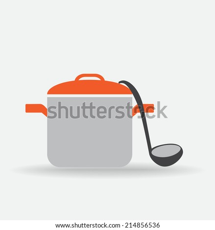 Pot and landle. - stock vector