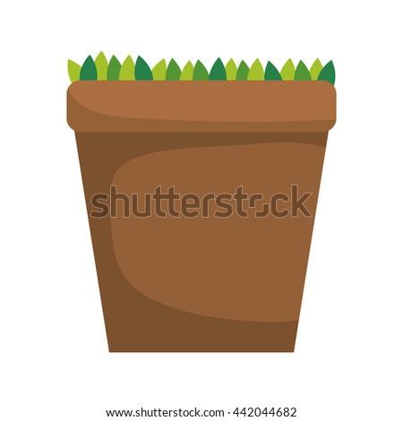 Pot and leaves icon. Gardening design. Vector graphic