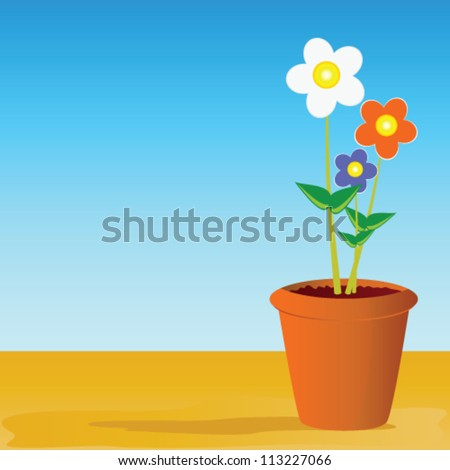 pot flowers vector illustration on  a color background - stock vector
