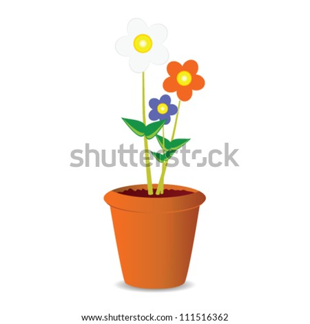 pot flowers vector illustration on a white background