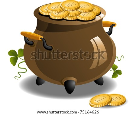 Pot of Gold (St. Patrick's Day) - stock vector