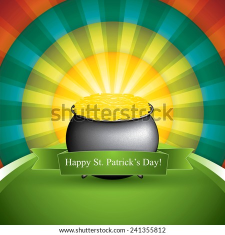 Pot of treasure on rainbow background. St. Patrick's Day card vector - stock vector