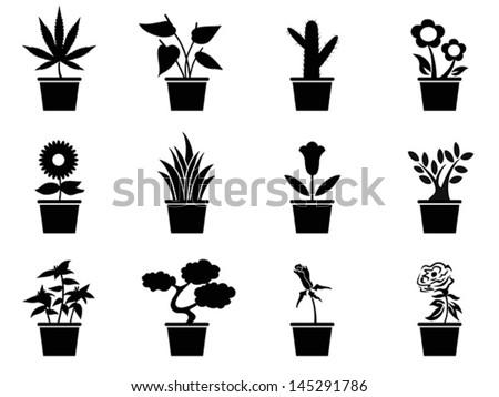 pot plants icons set - stock vector