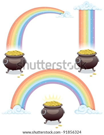 Pot & Rainbow: Pot of gold and rainbow in 3 different versions. No transparency used. Basic (linear) gradients. - stock vector