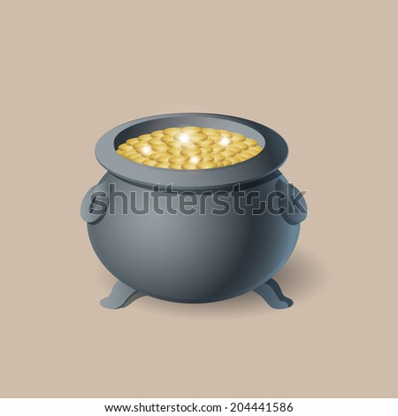 Pot with gold coin for Patrick's day icon Isolated on Beige Background