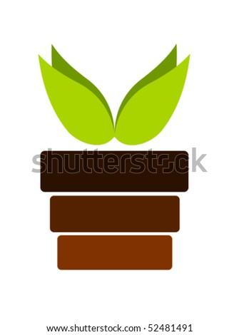 Pot with plant emblem - vector illustration - stock vector
