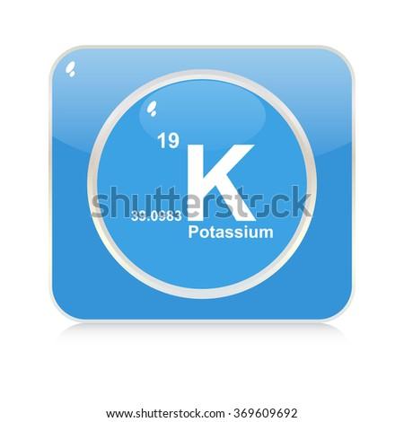 potassium chemical element button - stock vector