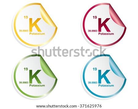potassium stickers - stock vector