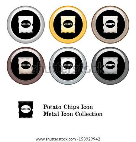 Potato Chips Bag Icon Metal Icon Set - stock vector