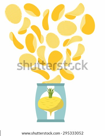 Potato chips taste of turnips. Packaging, bag of chips on a white background. Chips flying out from Pack. Delicacy for vegetarians. Food vector illustration. - stock vector
