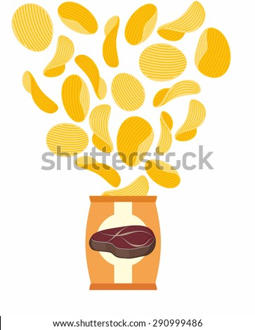 Potato chips with taste of fried steak. Packing chips and flying potatoes. On a white background. Vector illustration - stock vector