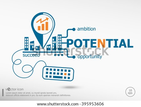Potential and marketing concept. Potential concept for application development, creative process. - stock vector