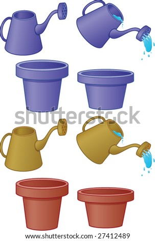 Pots and water cans - stock vector