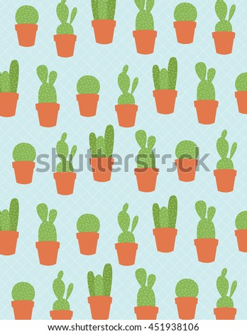Potted cactus plant pattern with blue background - stock vector