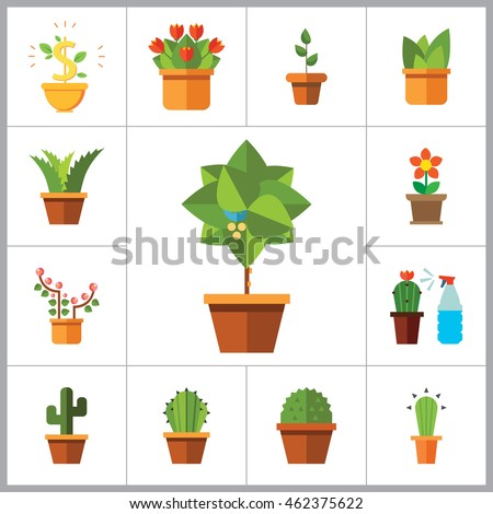 Potted Flowers Icon Set
