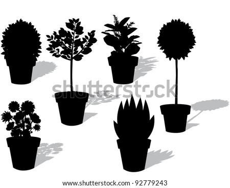 Potted Plant Silhouette Icons EPS 8 vector, grouped for easy editing, no open shapes or gradients. - stock vector
