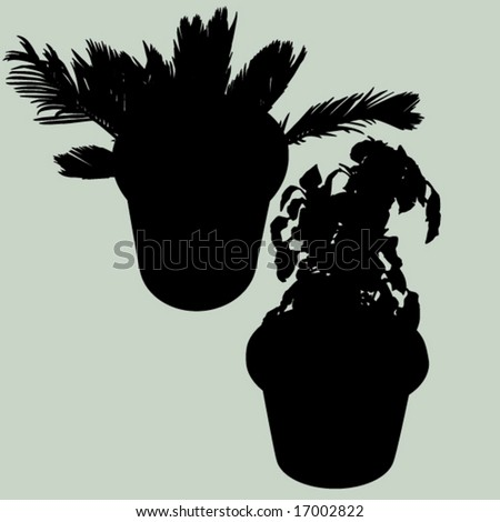 potted plants - stock vector