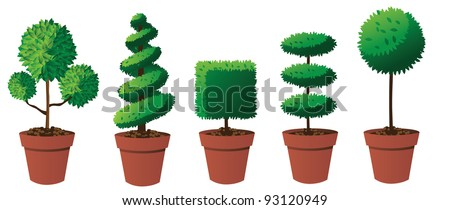 Potted Topiary Collection Part 2 EPS 8 vector, grouped for easy editing. No open shapes or paths. - stock vector