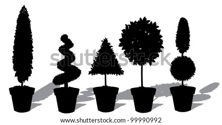 Potted Topiary Silhouette Collection Icon Symbol Set EPS 8 vector, grouped for easy editing. - stock vector