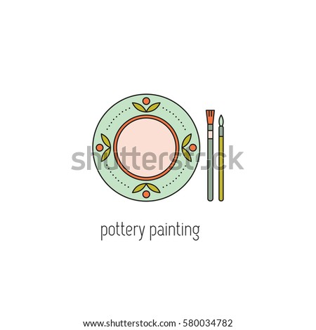 Pottery Painting Vector Thin Line Icon Stock Vector (2018) 580034782 ...
